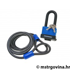 Steel security cable looped Silverline uključuje padlock 1.8m x 8mm