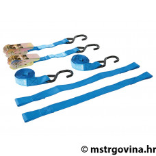 Motorbike tie-down set Silverline 4-piece sa s-hook ratchet tie-down straps 25mm & securing loops