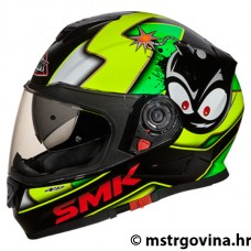 Kaciga Full face SMK TWISTER  CARTOON GL241, crna/zelena/fluo M